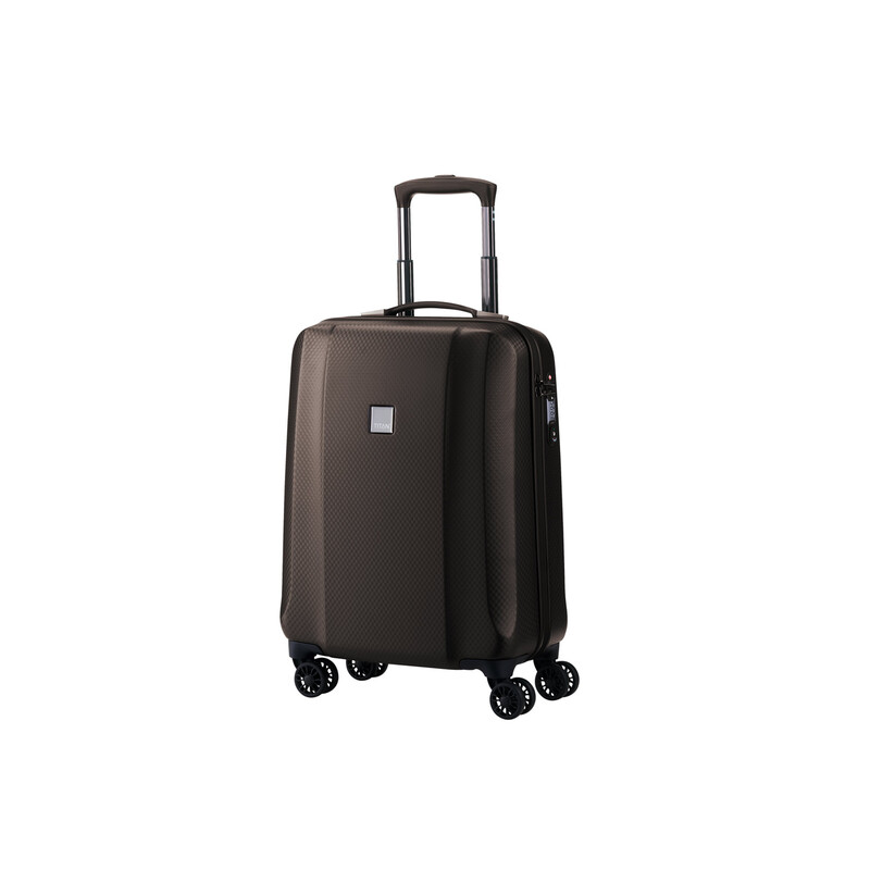 TITAN XENON DELUXE 4 Rollen Koffer Trolley Hartschale Handgepäck SMALL in BROWN